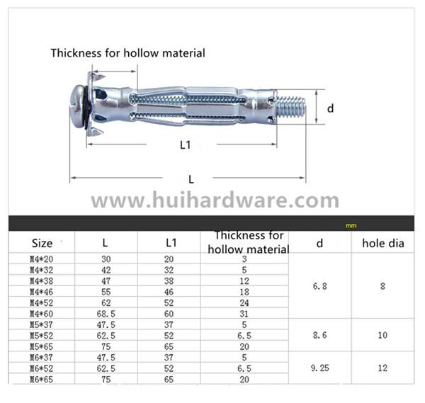 Hollow Wall Anchor Bolt -Shenzhen Conghui Precision Hardware